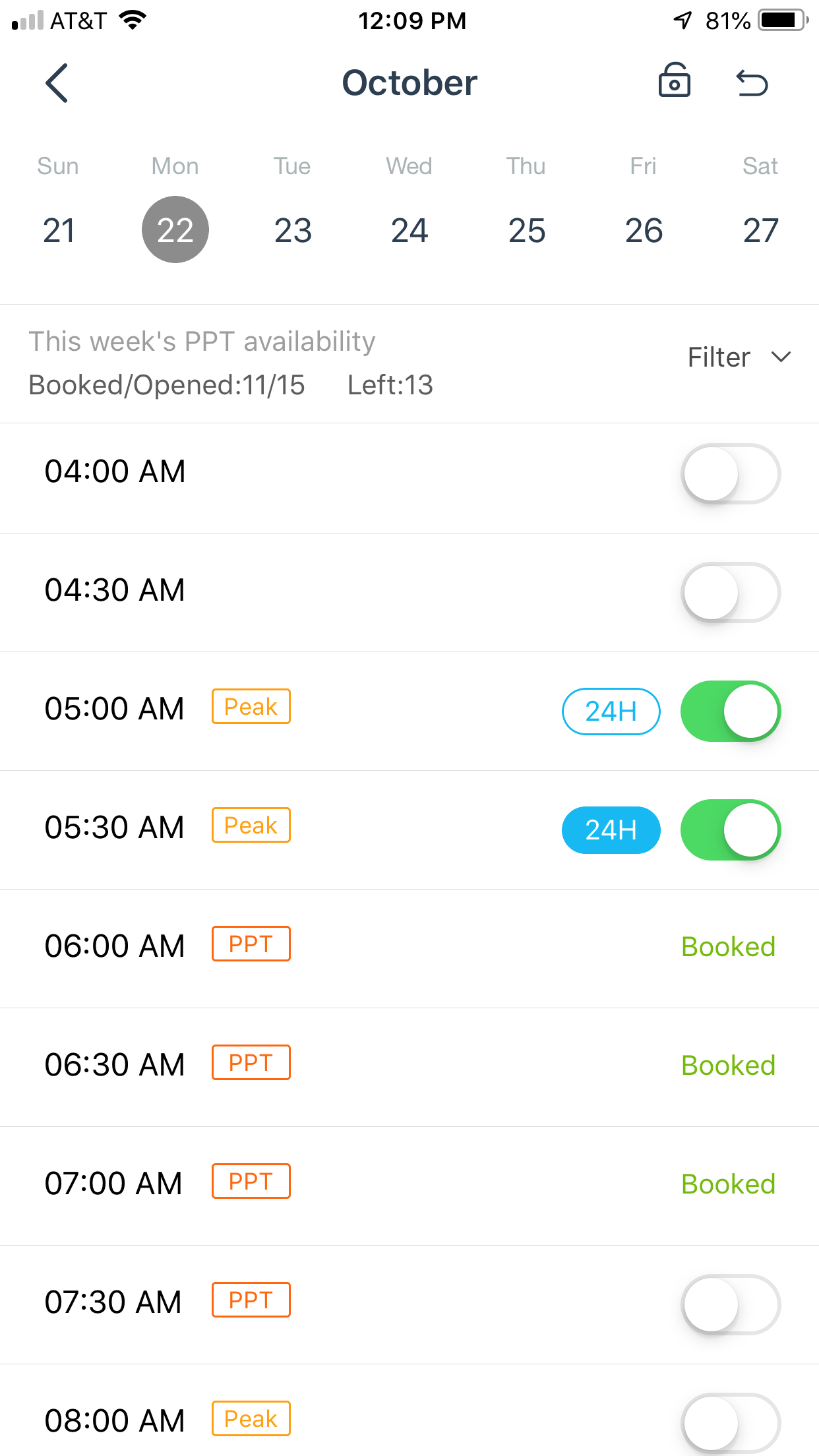 mobile app booking slots